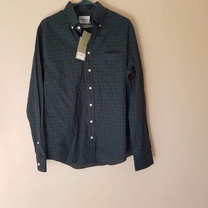 Checked Slim Fit  Long Sleeve Button-Down Shirt, M